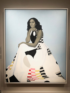 A portrait of Michelle Obama at the National Portrait Gallery
