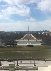 The view of the Washington Monument from the Speaker's Balcony in the Capitol Building