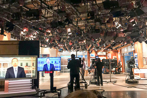 Washington Semester Program student Ingrid Skrede visits the set of Meet the Press with Chuck Todd with her Political Communications Class, hosted by Professor Adam Sharon