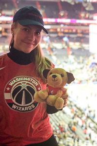 Washington Semester Program American Politics student ambassador Ingrid Skrede attending a Washington Wizards game in Washington DC