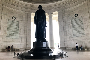A statue of Thomas Jefferson at the Jefferson Memorial