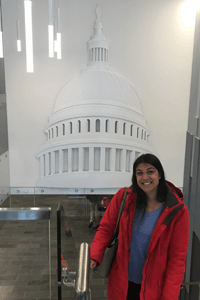 Lisa in front of an artistic rendition of the United States Capitol