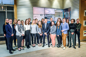 American University Washington Semester program Political Communications students on the of Chuck Todd's Met the Press with professor Adam Sharon