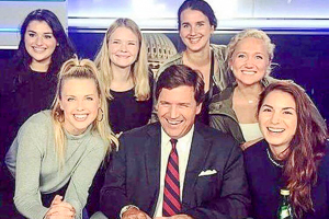 Mirela and fellow students with Fox News Anchor, Tucker Carlson