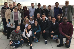 Washington Semester Program students visit the Newseum as a class.
