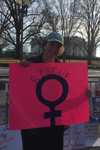 Washington Semester Program Foreign Policy student Molly Quillin attends the 2018 Women's March