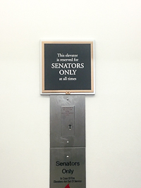 A Senate Only sign is hung at the elevators of the Dirksen Senate Building in Washington DC, Washington Semester Program