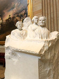 The women's suffrage statue in the United States Capitol Building in Washington DC