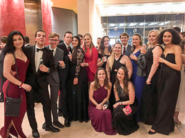 Washington Semester Program students enjoy an evening at the Italian Embassy in Washington DC for a special Valentine's Day gala