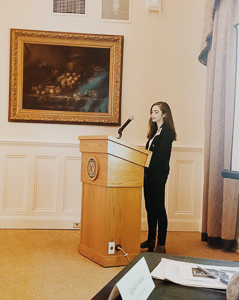 Sarah speaking at the Latin American Social and Public Policy Conference