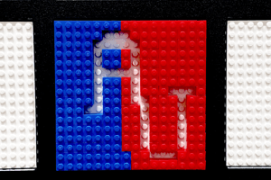AU (American University) spelled out in legos in red, white, and blue