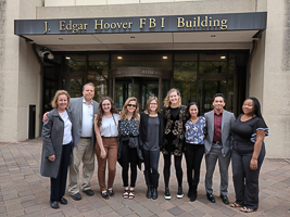 Jessica with classmates at the FBI Headquarters