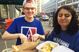 Washington Semester Program student Bita Kavoosi enjoys some delicious food with a friend in Washington DC