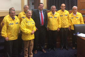 Congressman Tom Garrett (R-VA) with activists pressuring the committee to prioritize a regime change in Iran