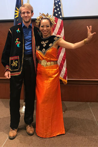 Julian with Malaysian dancer at the Embassy of Malaysia