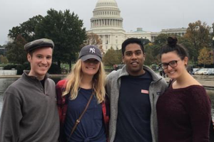 Washington Semester Ambassador Maggie Gates with three friends in front of the U.S. Capitol