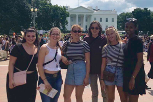 Mahalet with her friends in front of the White House