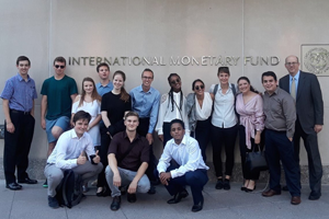 Mihretabe and classmates in front of the International Monetary Fund building