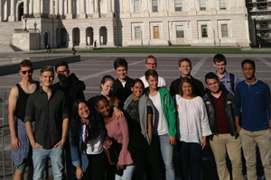 Mihretabe and classmates in front of the United States Capitol building