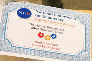 A welcome certificate for Jiyoun Yoo from the National Endowment for Democracy