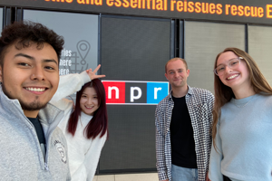 Josue with classmates on a site visit to National Public Radio