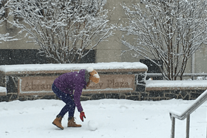 A snowy day at American University