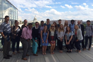 American Politics students in front of the U.S. Capitol