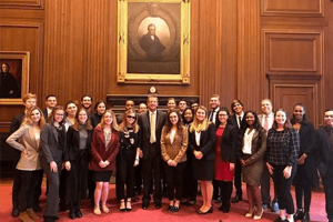 Alyssa with her Washington Semester class inside the Supreme Court