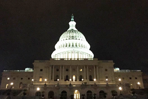 United States Capitol dome at night