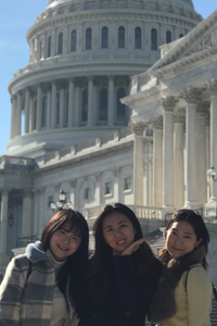 Washington Semester student Hyseung outside of the US Capitol with friends