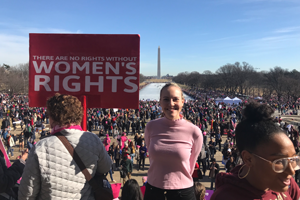 Washington Semester Program student Ingrid Skrede on the National Mall attending the 2018 Women's March