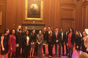 Washington Semester students at the Supreme Court with Chief Justice Ruth Bader Ginsburg
