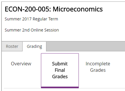 Image of Submit Final Grades highlighted