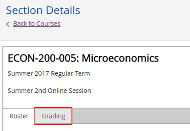 Section details. ECON-200-005. Grading tab in focus.