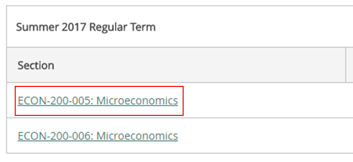 List of sections with ECON-200-005 in focus.