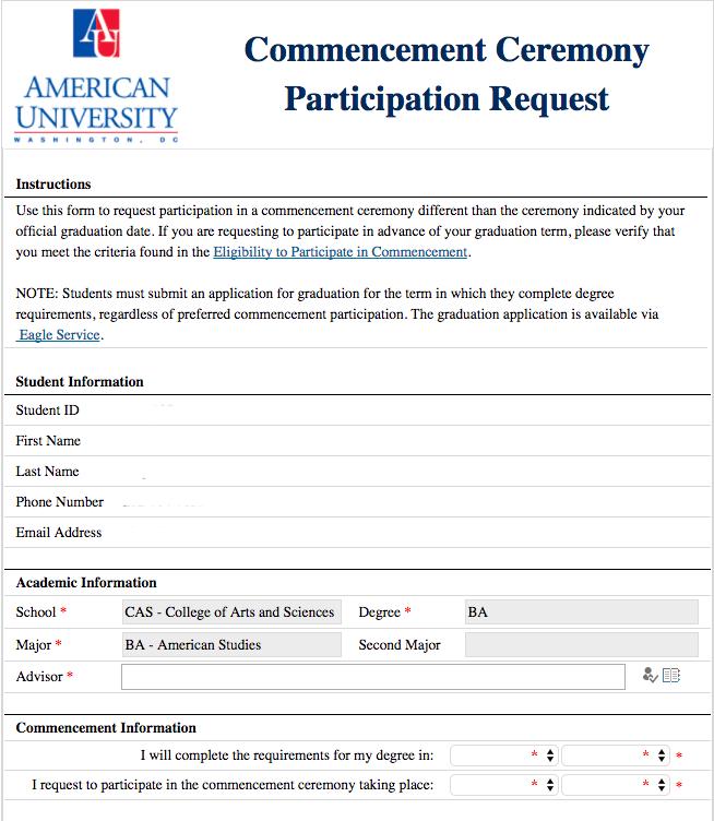 Request Form | List Of Forms American University Washington Dc