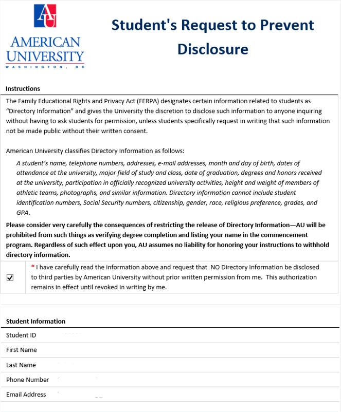 List Of Forms American University Washington Dc