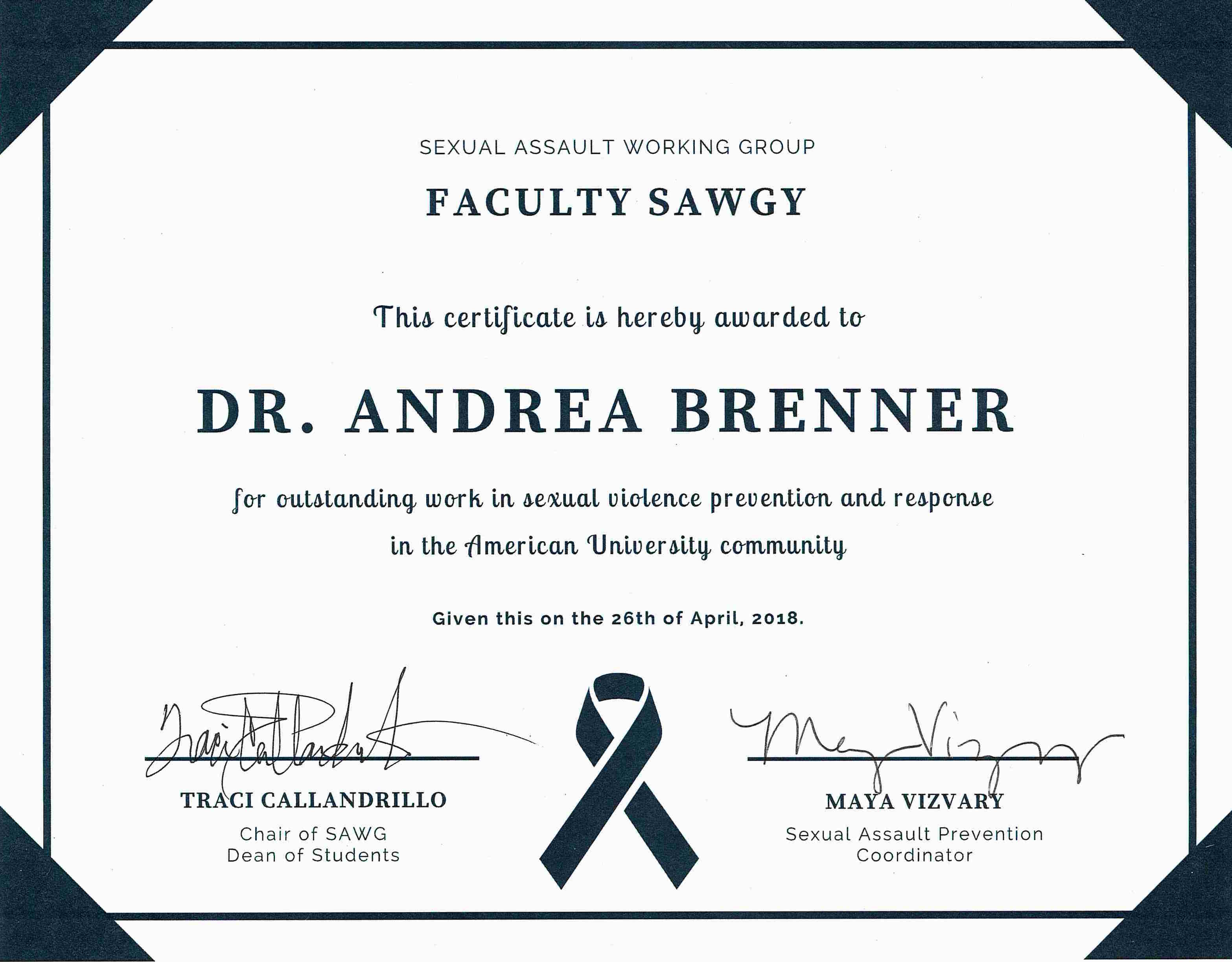 Dr. Andrea Brenner was awarded the Faculty SWAGy award