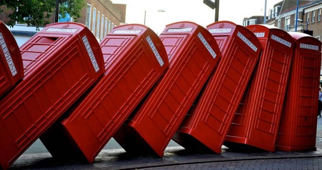 Red British telephone booths