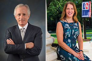 Split screen of Senator Bob Corker and AU President Sylvia Burwell