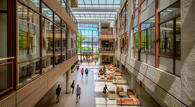 birds eye view inside the School of International Service atrium