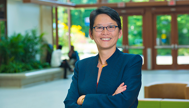 Interim Dean Christine BN Chin poses in the Atrium at the School of International Service.