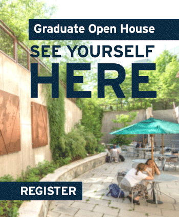 Graduate Open House lets you see yourself here, as a student, sitting on the patio at the School of International Service. Register for Open House.