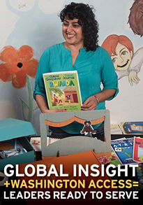 Geeta Raj surrounded by children's books. Global insight + Washington Access=Leaders Ready to Serve