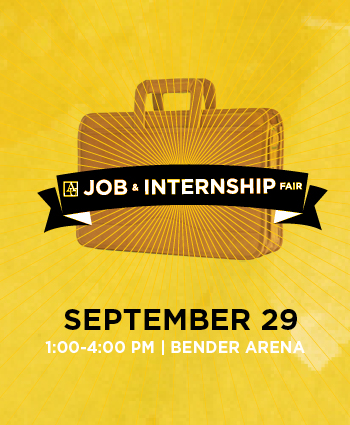 AU Career Center Job and Internship Fair, September 29, 1pm to 4pm, Bender Arena