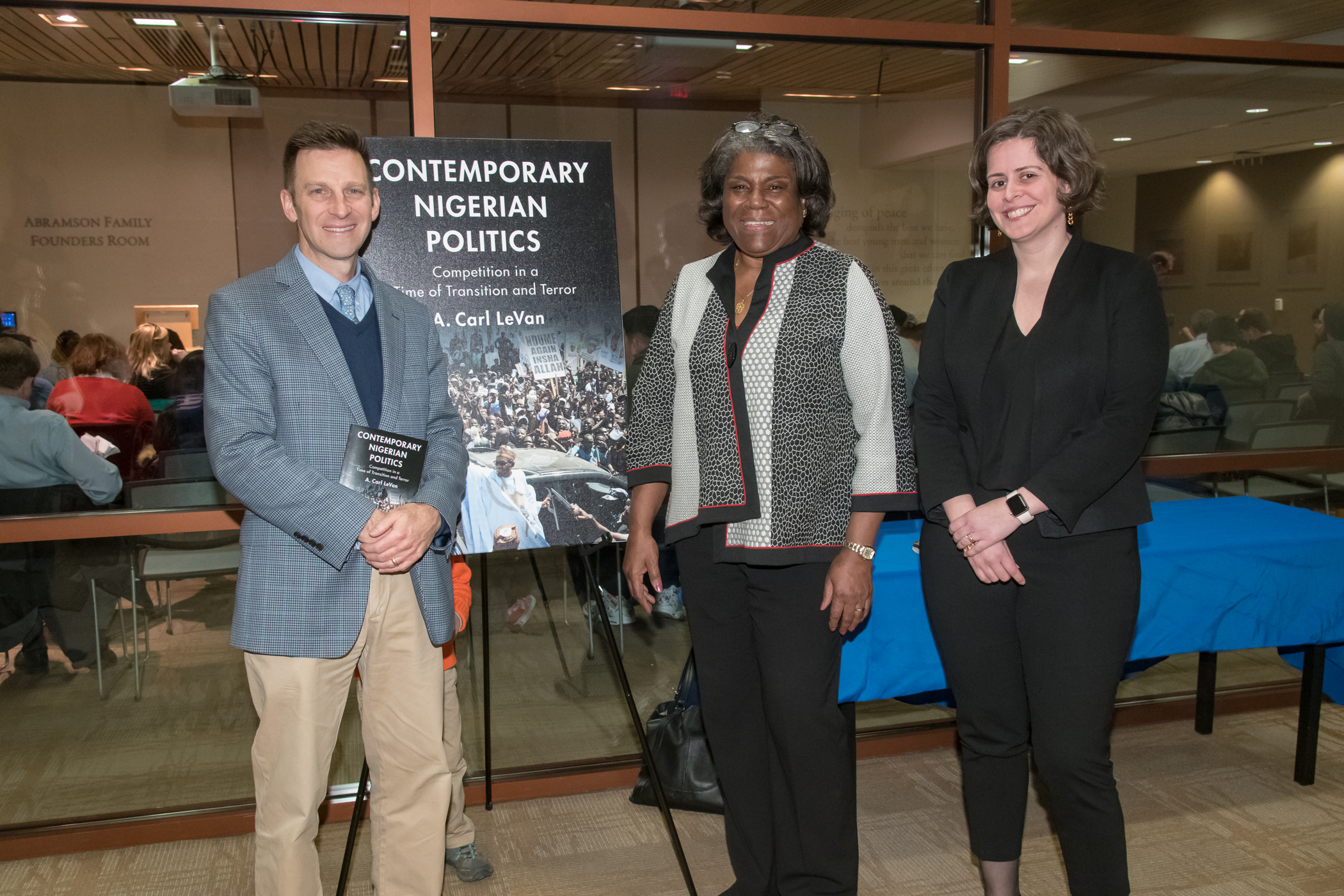 Professor Carl LeVan, Ambassador Linda Thomas-Greenfield, and reporter Jennifer Amur