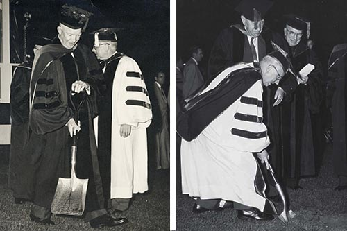 Eisenhower with shovel and AU President Hurst Anderson with shovel at SIS groundbreaking