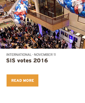 Students in Atrium at Election Night Party International November 11 SIS votes 2016 Read more