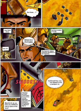 Page of illustrated graphic novel about a Marine intelligence mission.