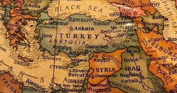 Map of Turkey and Syria.